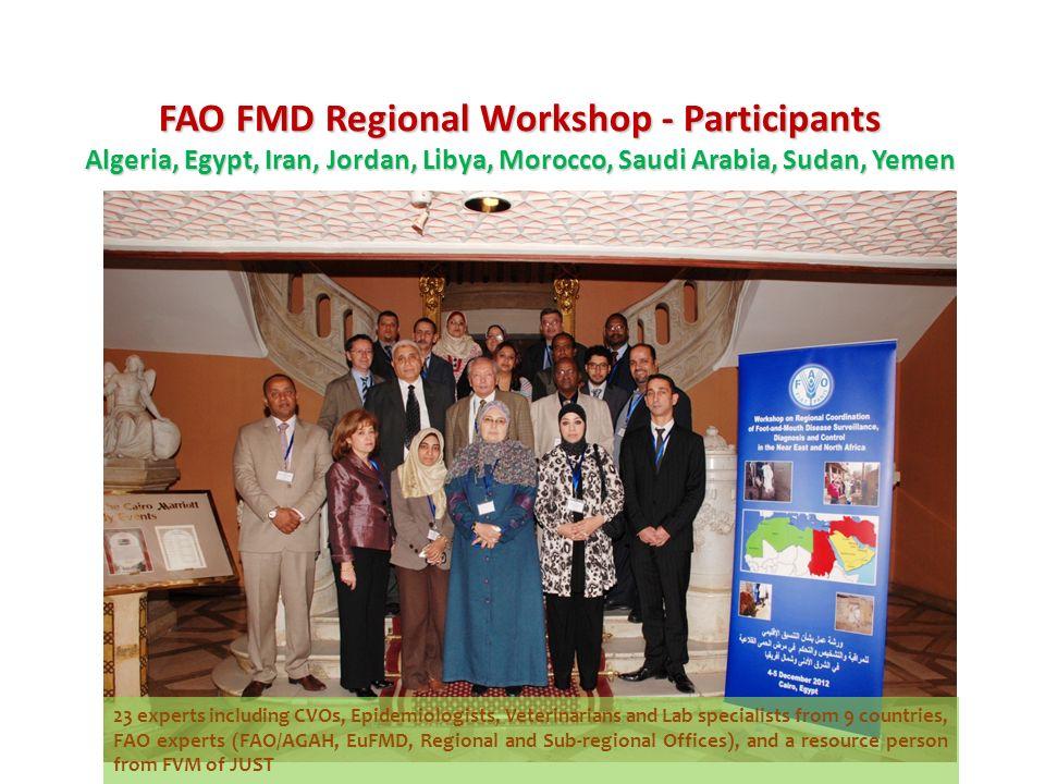 FAO FMD Regional Workshop - Participants Algeria, Egypt, Iran, Jordan, Libya, Morocco, Saudi Arabia, Sudan, Yemen 23 experts including CVOs, Epidemiol