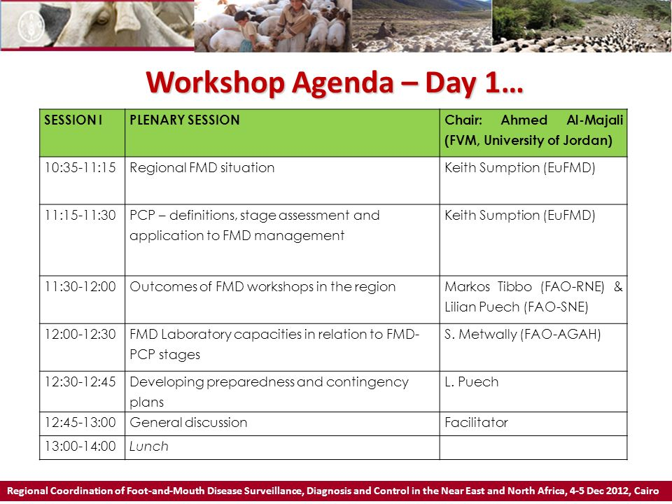 Workshop Agenda – Day 1… Regional Coordination of Foot-and-Mouth Disease Surveillance, Diagnosis and Control in the Near East and North Africa, 4-5 Dec 2012, Cairo SESSION IICOUNTRY REPORTSChair: S.
