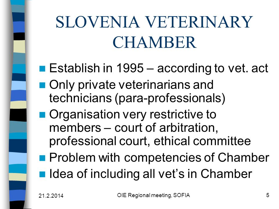 21.2.2014 OIE Regional meeting, SOFIA5 SLOVENIA VETERINARY CHAMBER Establish in 1995 – according to vet.