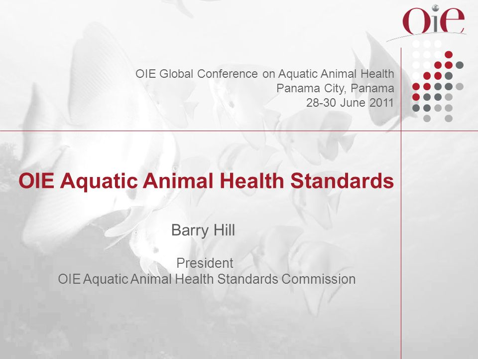 Contents of the Aquatic Code General Provisions (Horizontal issues) Users guide Glossary Section 1 : Animal disease diagnosis, surveillance and notification Section 2 : Risk analysis Section 3 : Quality of Aquatic Animal Health Services Section 4 : General recommendations : disease prevention and control – Zoning/compartmentalisation – Recommendations on disinfection – Contingency planning – Fallowing in aquaculture – Handling, disposal and treatment of aquatic animal waste