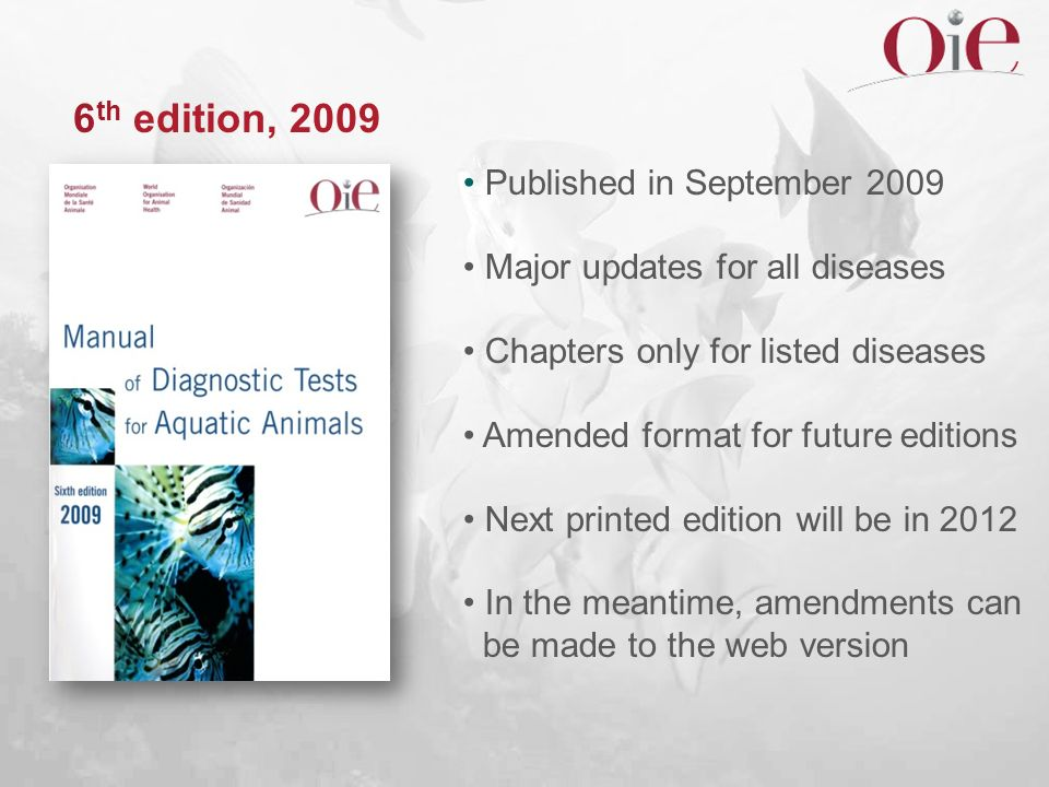 6 th edition, 2009 Published in September 2009 Major updates for all diseases Chapters only for listed diseases Amended format for future editions Nex