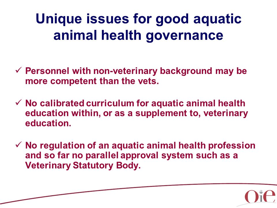 Unique issues for good aquatic animal health governance Personnel with non-veterinary background may be more competent than the vets. No calibrated cu