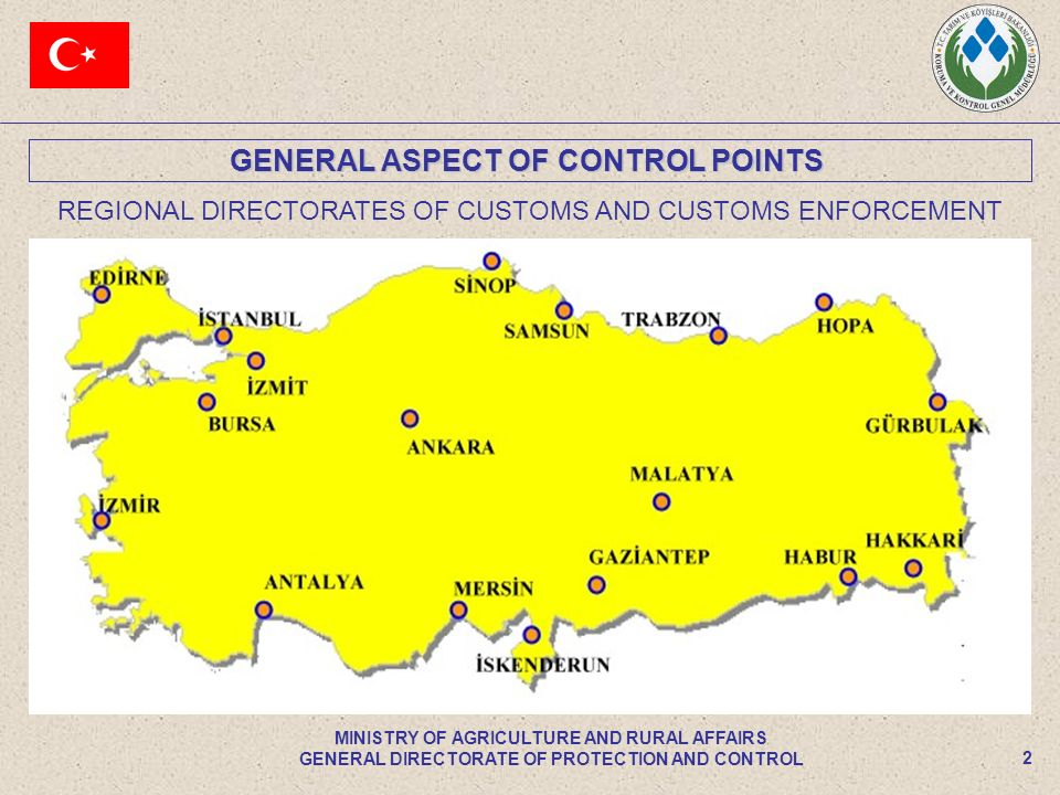 GENERAL ASPECT OF CONTROL POINTS 2 MINISTRY OF AGRICULTURE AND RURAL AFFAIRS GENERAL DIRECTORATE OF PROTECTION AND CONTROL REGIONAL DIRECTORATES OF CUSTOMS AND CUSTOMS ENFORCEMENT