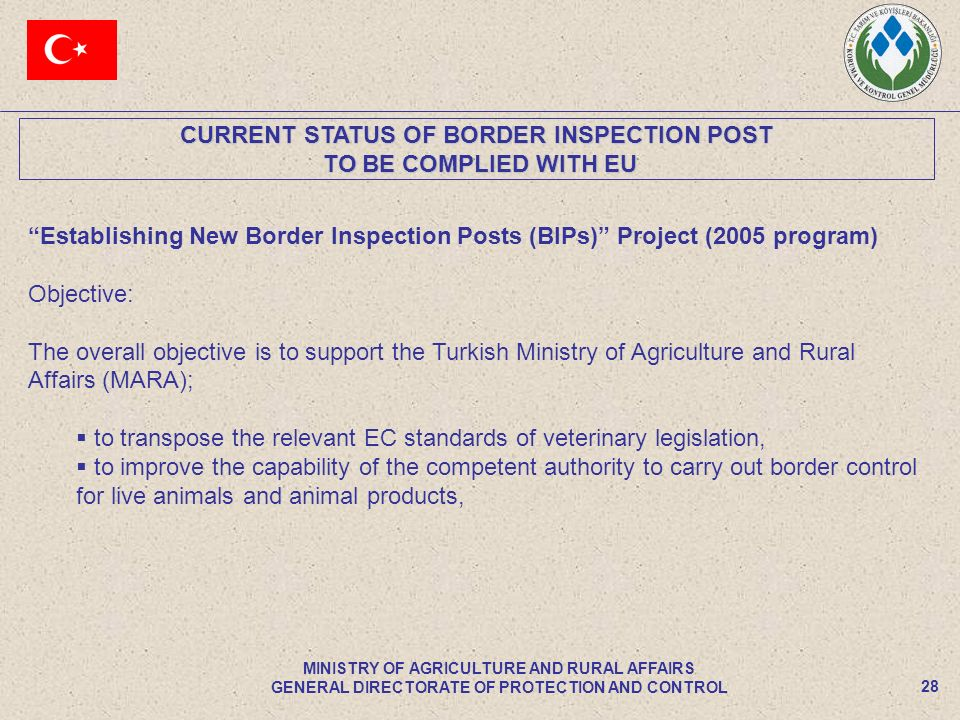 CURRENT STATUS OF BORDER INSPECTION POST TO BE COMPLIED WITH EU TO BE COMPLIED WITH EU 28 MINISTRY OF AGRICULTURE AND RURAL AFFAIRS GENERAL DIRECTORAT
