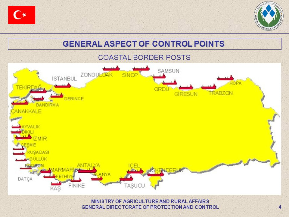 GENERAL ASPECT OF CONTROL POINTS 4 MINISTRY OF AGRICULTURE AND RURAL AFFAIRS GENERAL DIRECTORATE OF PROTECTION AND CONTROL COASTAL BORDER POSTS