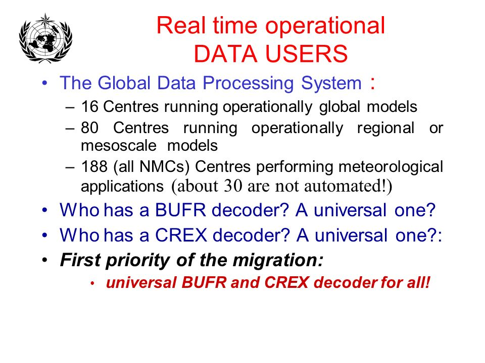 Real time operational DATA USERS The Global Data Processing System : –16 Centres running operationally global models –80 Centres running operationally