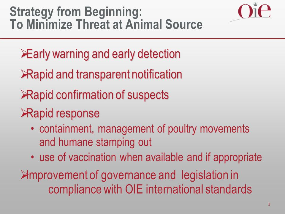 3 Strategy from Beginning: To Minimize Threat at Animal Source Early warning and early detection Early warning and early detection Rapid and transparent notification Rapid and transparent notification Rapid confirmation of suspects Rapid confirmation of suspects Rapid response Rapid response containment, management of poultry movements and humane stamping out use of vaccination when available and if appropriate Improvement of governance and legislation in compliance with OIE international standards Improvement of governance and legislation in compliance with OIE international standards
