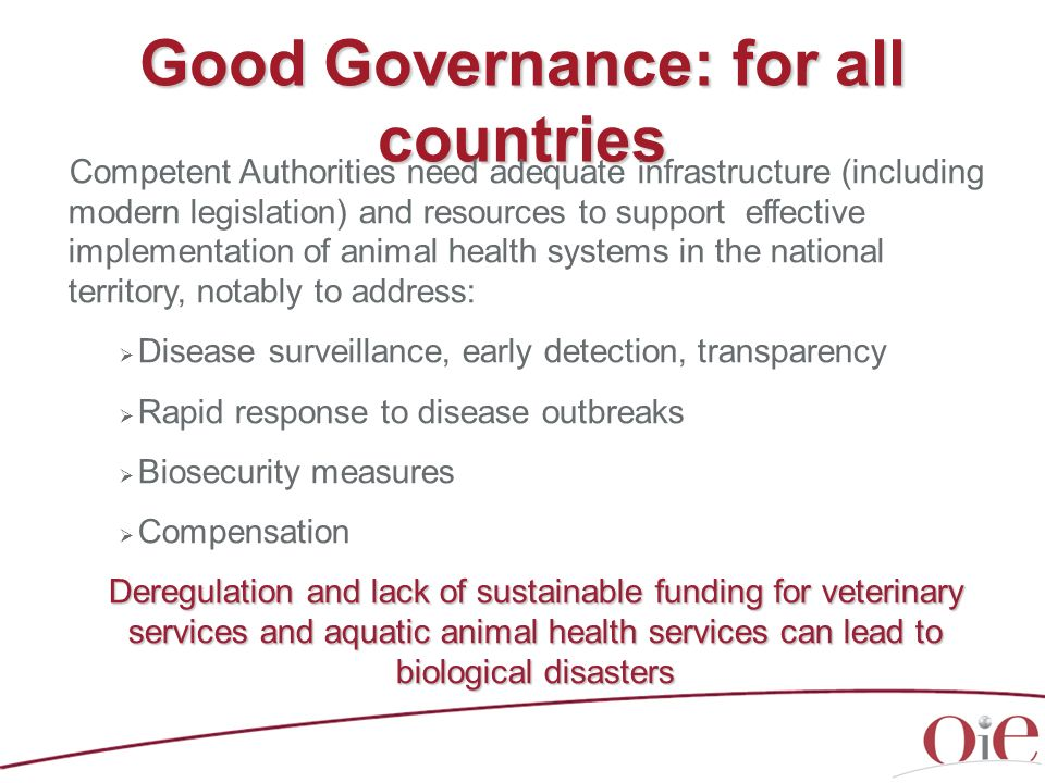5th OIE Strategic Plan (2011-2015) Animal Health systems are a global public good Global public goods > benefit all countries, people and generations One World-One Health (OWOH) A global strategy for cooperation in managing risks at the animal- human interface Relation between animal health, animal production and the environment Need to gain a clearer understanding of the link between animals and the environment.
