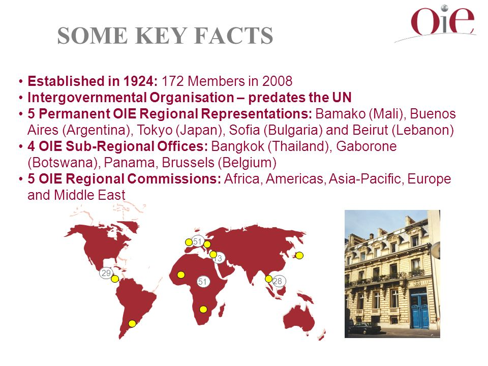 SOME KEY FACTS Established in 1924: 172 Members in 2008 Intergovernmental Organisation – predates the UN 5 Permanent OIE Regional Representations: Bamako (Mali), Buenos Aires (Argentina), Tokyo (Japan), Sofia (Bulgaria) and Beirut (Lebanon) 4 OIE Sub-Regional Offices: Bangkok (Thailand), Gaborone (Botswana), Panama, Brussels (Belgium) 5 OIE Regional Commissions: Africa, Americas, Asia-Pacific, Europe and Middle East