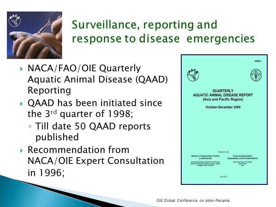 NACA/FAO/OIE Quarterly Aquatic Animal Disease (QAAD) Reporting QAAD has been initiated since the 3 rd quarter of 1998; Till date 50 QAAD reports publi