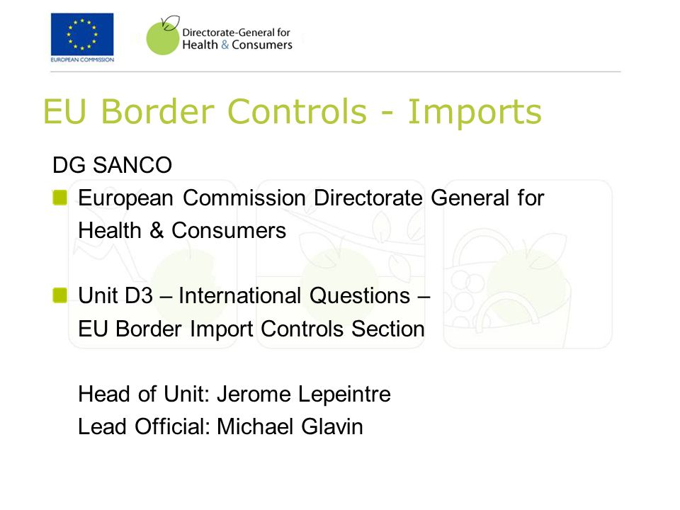 EU Border Controls - Imports DG SANCO European Commission Directorate General for Health & Consumers Unit D3 – International Questions – EU Border Imp