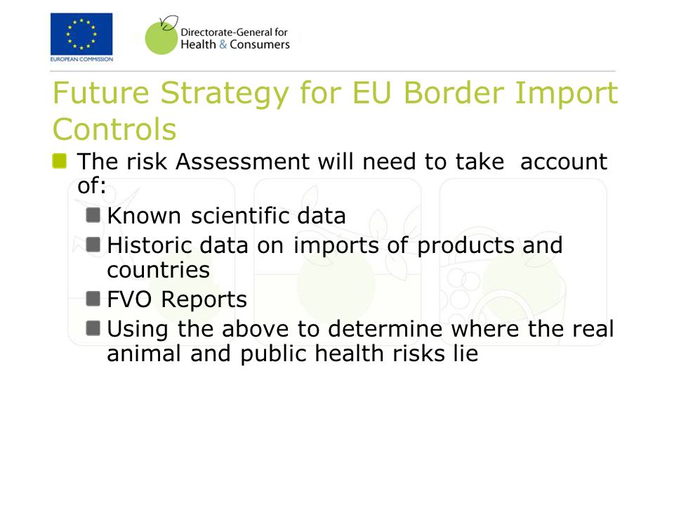 The risk Assessment will need to take account of: Known scientific data Historic data on imports of products and countries FVO Reports Using the above
