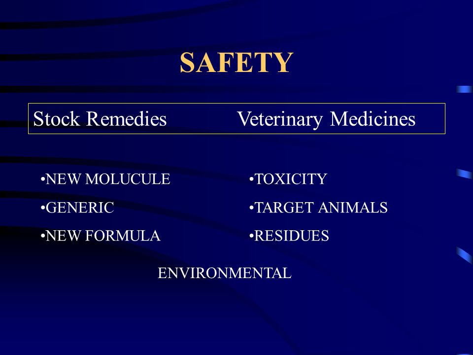 SAFETY NEW MOLUCULE GENERIC NEW FORMULA TOXICITY TARGET ANIMALS RESIDUES ENVIRONMENTAL Stock Remedies Veterinary Medicines