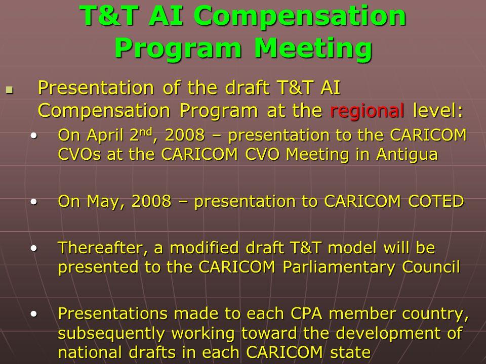T&T AI Compensation Program Meeting Presentation of the draft T&T AI Compensation Program at the regional level: Presentation of the draft T&T AI Comp