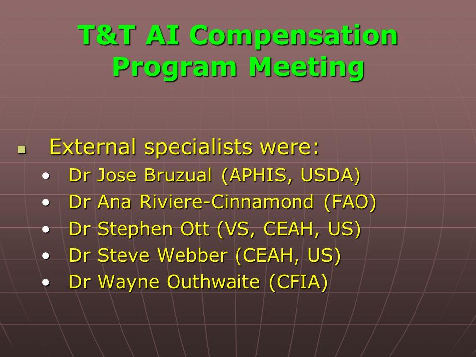 T&T AI Compensation Program Meeting External specialists were: External specialists were: Dr Jose Bruzual (APHIS, USDA)Dr Jose Bruzual (APHIS, USDA) Dr Ana Riviere-Cinnamond (FAO)Dr Ana Riviere-Cinnamond (FAO) Dr Stephen Ott (VS, CEAH, US)Dr Stephen Ott (VS, CEAH, US) Dr Steve Webber (CEAH, US)Dr Steve Webber (CEAH, US) Dr Wayne Outhwaite (CFIA)Dr Wayne Outhwaite (CFIA)