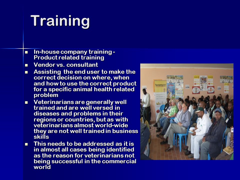Training In-house company training - Product related training In-house company training - Product related training Vendor vs.
