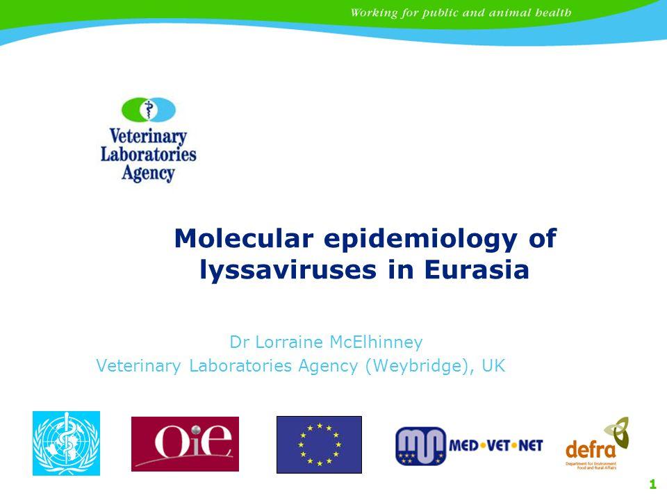 1 Molecular epidemiology of lyssaviruses in Eurasia Dr Lorraine McElhinney Veterinary Laboratories Agency (Weybridge), UK