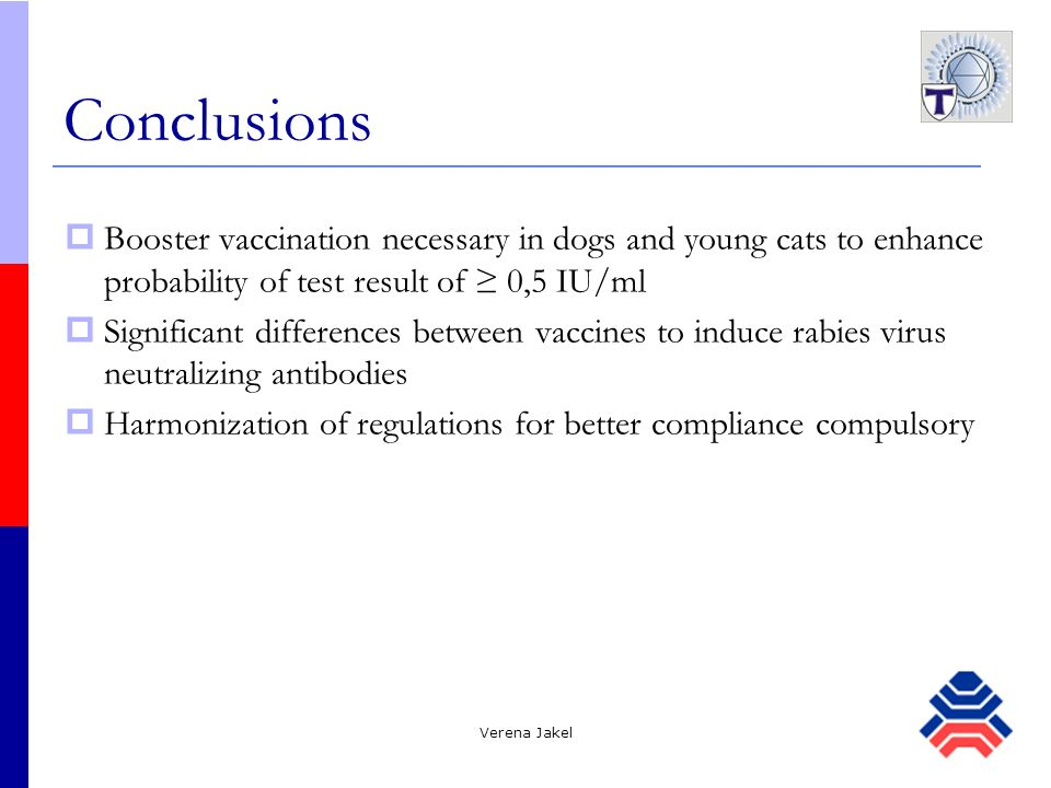 Verena Jakel Conclusions Booster vaccination necessary in dogs and young cats to enhance probability of test result of 0,5 IU/ml Significant differenc