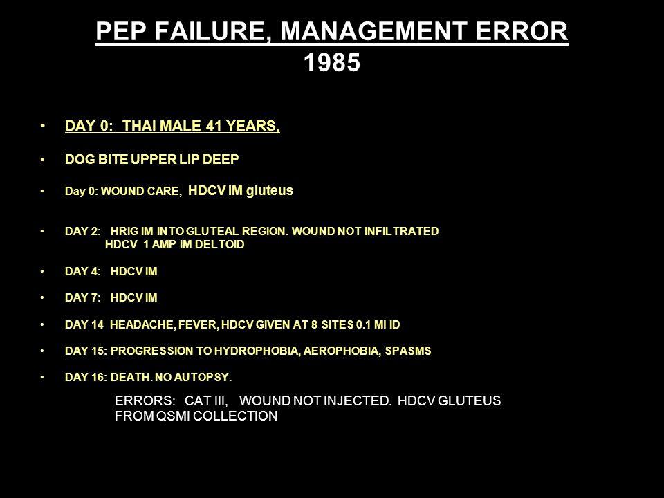 PEP FAILURE, MANAGEMENT ERROR 1985 DAY 0: THAI MALE 41 YEARS, DOG BITE UPPER LIP DEEP Day 0: WOUND CARE, HDCV IM gluteus DAY 2: HRIG IM INTO GLUTEAL REGION.
