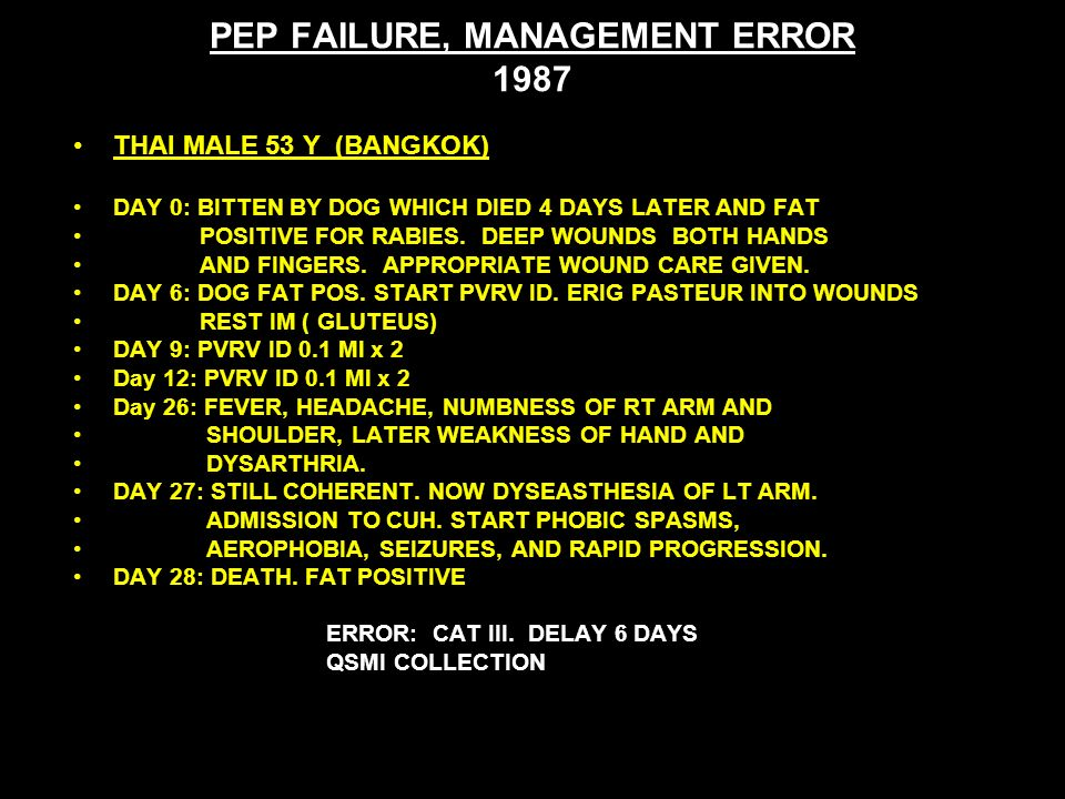 PEP FAILURE, MANAGEMENT ERROR 1987 THAI MALE 53 Y (BANGKOK) DAY 0: BITTEN BY DOG WHICH DIED 4 DAYS LATER AND FAT POSITIVE FOR RABIES.