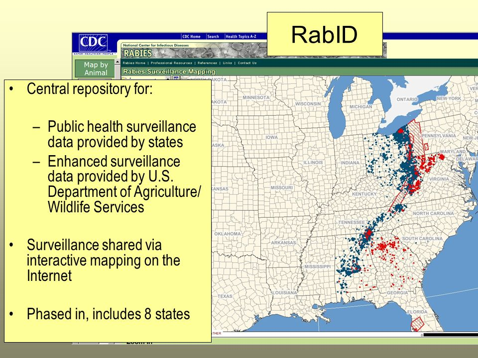 Central repository for: –Public health surveillance data provided by states –Enhanced surveillance data provided by U.S. Department of Agriculture/ Wi