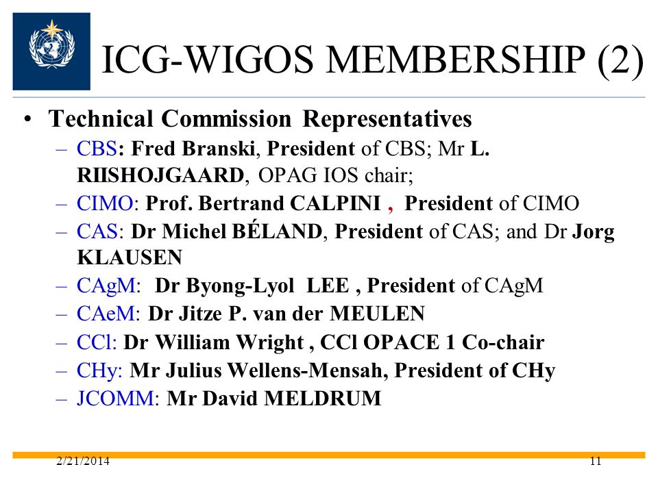ICG-WIGOS MEMBERSHIP (2) Technical Commission Representatives –CBS: Fred Branski, President of CBS; Mr L.