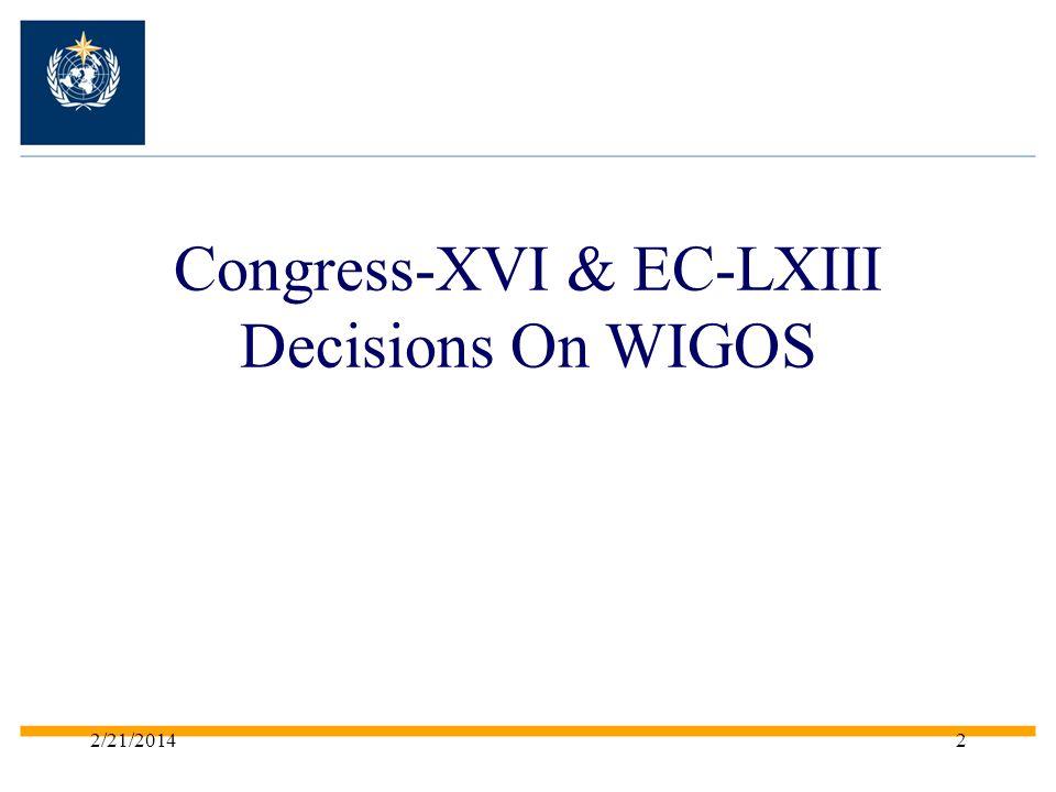 Congress-XVI & EC-LXIII Decisions On WIGOS 2/21/20142