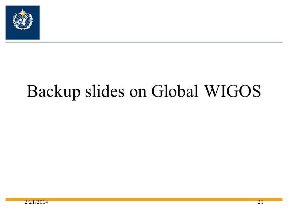 Backup slides on Global WIGOS 2/21/201421