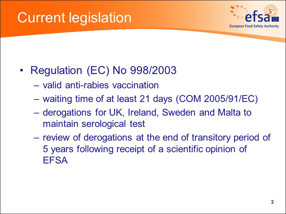 2 Current legislation Regulation (EC) No 998/2003 –valid anti-rabies vaccination –waiting time of at least 21 days (COM 2005/91/EC) –derogations for UK, Ireland, Sweden and Malta to maintain serological test –review of derogations at the end of transitory period of 5 years following receipt of a scientific opinion of EFSA