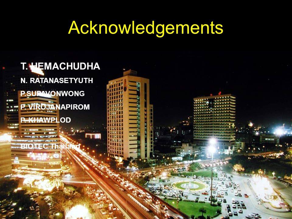 Acknowledgements T. HEMACHUDHA N. RATANASETYUTH P.SUPAVONWONG P. VIROJANAPIROM P. KHAWPLOD BIOTEC Thailand