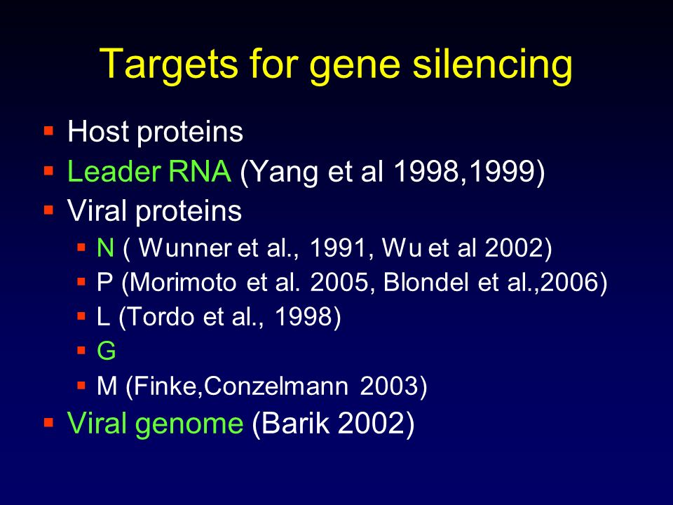 Targets for gene silencing Host proteins Leader RNA (Yang et al 1998,1999) Viral proteins N ( Wunner et al., 1991, Wu et al 2002) P (Morimoto et al. 2