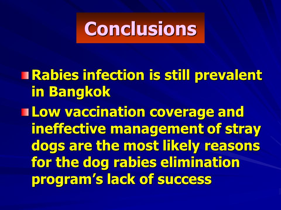 Rabies infection is still prevalent in Bangkok Low vaccination coverage and ineffective management of stray dogs are the most likely reasons for the dog rabies elimination programs lack of success Conclusions