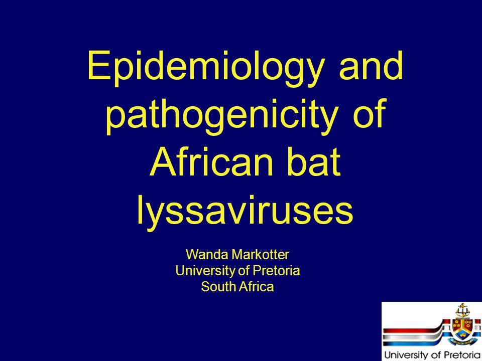 Epidemiology and pathogenicity of African bat lyssaviruses Wanda Markotter University of Pretoria South Africa