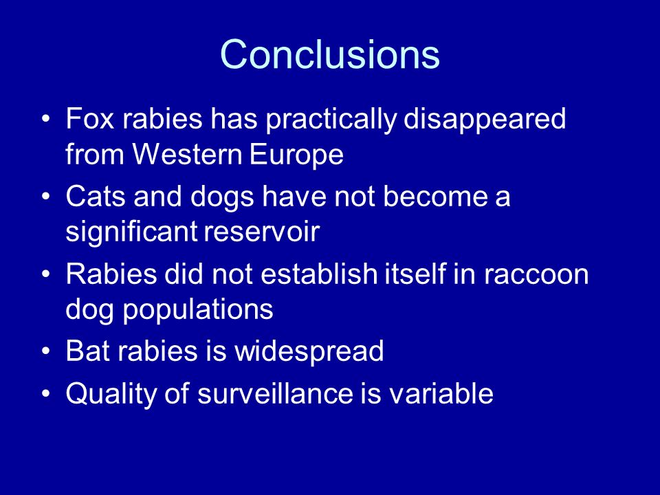 Conclusions Fox rabies has practically disappeared from Western Europe Cats and dogs have not become a significant reservoir Rabies did not establish itself in raccoon dog populations Bat rabies is widespread Quality of surveillance is variable