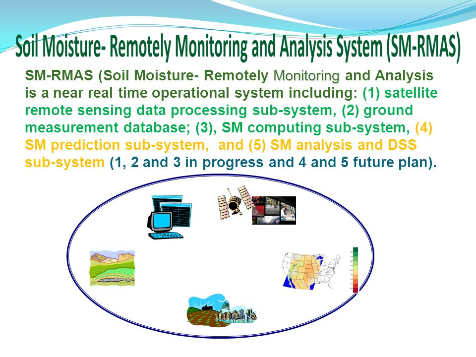 Monitoring SM-RMAS (Soil Moisture- Remotely Monitoring and Analysis is a near real time operational system including: (1) satellite remote sensing data processing sub-system, (2) ground measurement database; (3), SM computing sub-system, (4) SM prediction sub-system, and (5) SM analysis and DSS sub-system (1, 2 and 3 in progress and 4 and 5 future plan).
