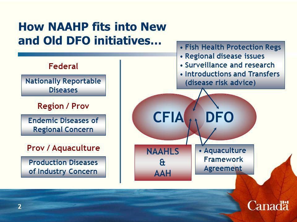 2 How NAAHP fits into New and Old DFO initiatives… Nationally Reportable Diseases Endemic Diseases of Regional Concern Production Diseases of Industry Concern CFIADFO Federal Region / Prov Prov / Aquaculture Fish Health Protection Regs Regional disease issues Surveillance and research Introductions and Transfers (disease risk advice) Aquaculture Framework Agreement NAAHLS & AAH