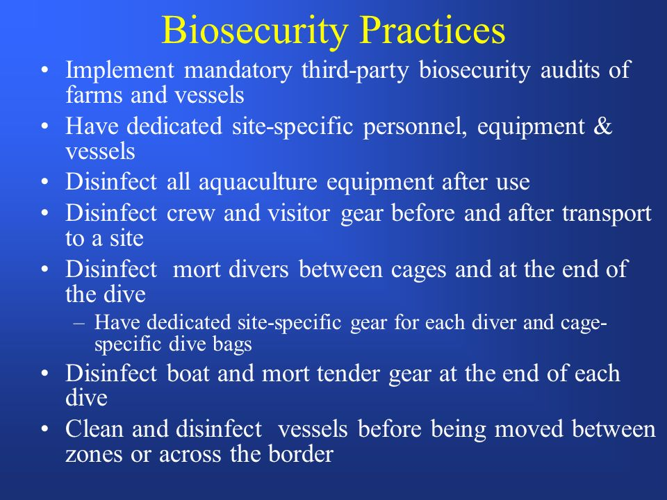 Biosecurity Practices Implement mandatory third-party biosecurity audits of farms and vessels Have dedicated site-specific personnel, equipment & vessels Disinfect all aquaculture equipment after use Disinfect crew and visitor gear before and after transport to a site Disinfect mort divers between cages and at the end of the dive –Have dedicated site-specific gear for each diver and cage- specific dive bags Disinfect boat and mort tender gear at the end of each dive Clean and disinfect vessels before being moved between zones or across the border