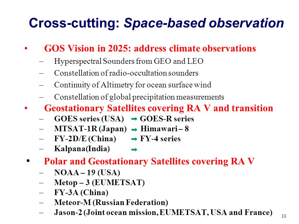 Cross-cutting: Space-based observation GOS Vision in 2025: address climate observations –Hyperspectral Sounders from GEO and LEO –Constellation of rad