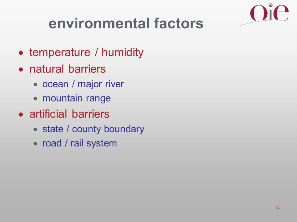 12 environmental factors temperature / humidity natural barriers ocean / major river mountain range artificial barriers state / county boundary road / rail system
