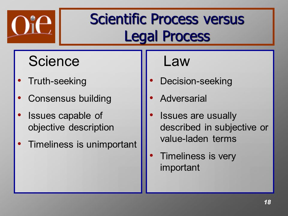 18 Scientific Process versus Legal Process Science Truth-seeking Consensus building Issues capable of objective description Timeliness is unimportant Law Decision-seeking Adversarial Issues are usually described in subjective or value-laden terms Timeliness is very important
