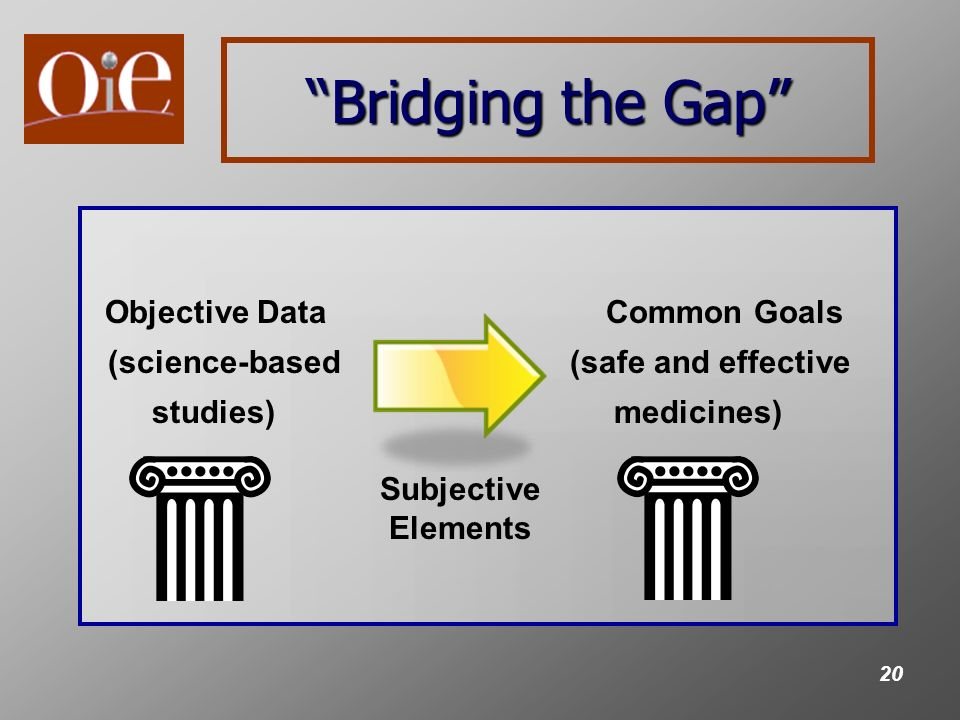 20 Bridging the Gap Objective Data Common Goals (science-based(safe and effective studies) medicines) Subjective Elements