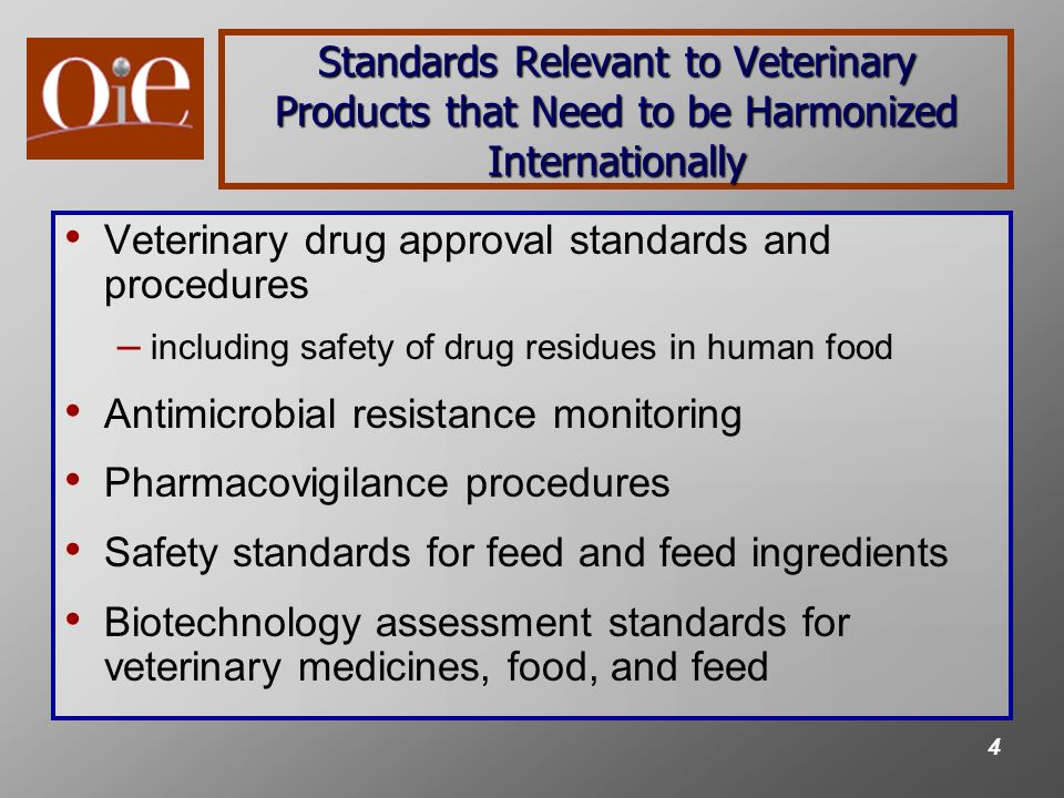 5 Important International Veterinary Products Standard-Setting Venues in which FDA Participates Multilateral – Codex Alimentarius – OIE – VICH – CAMEVET – Quad countries – Trilateral forum – Others: OECD, ISO, ASEAN Bilateral – Canada (VDD and CFIA) – EU (EMA, DG SANCO, and EFSA) – China (AQSIQ, SFDA, and MOA) – Others: India
