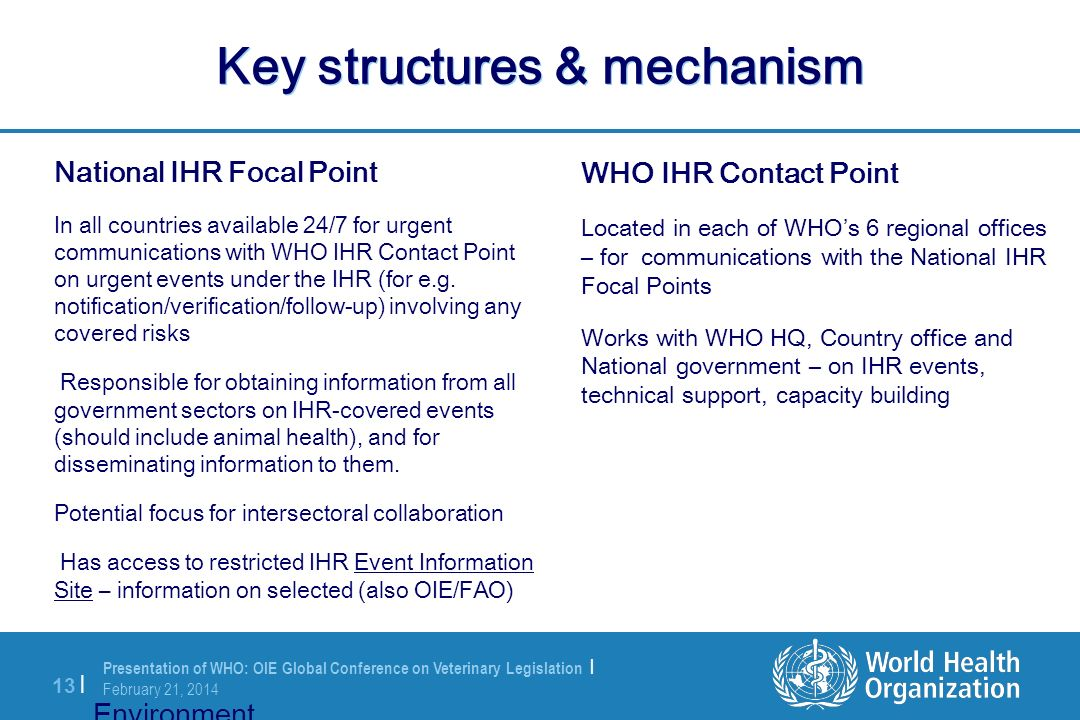 Presentation of WHO: OIE Global Conference on Veterinary Legislation | February 21, 2014 13 | Key structures & mechanism National IHR Focal Point In a