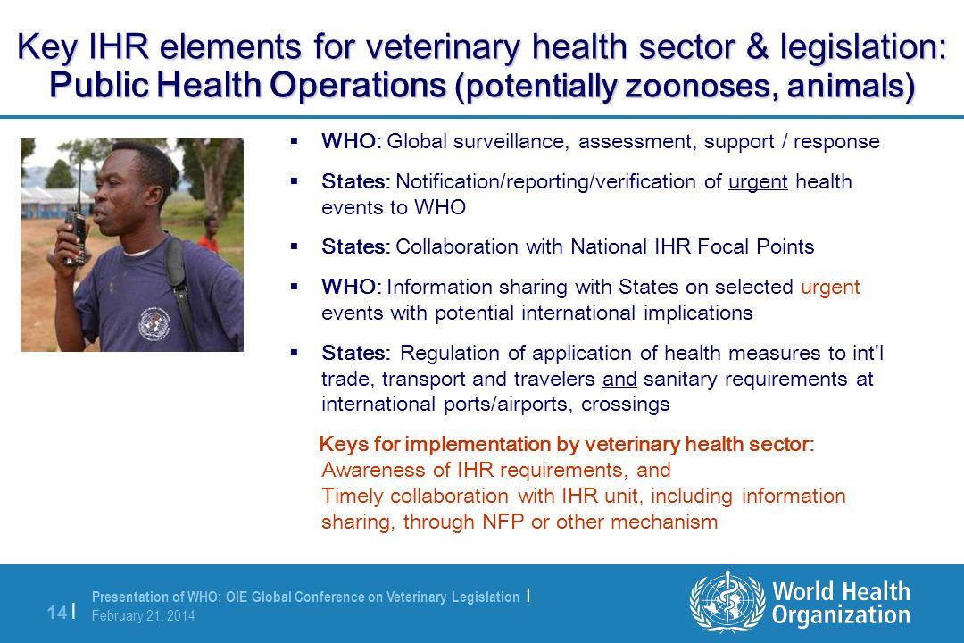 Presentation of WHO: OIE Global Conference on Veterinary Legislation | February 21, 2014 14 | Key IHR elements for veterinary health sector & legislat