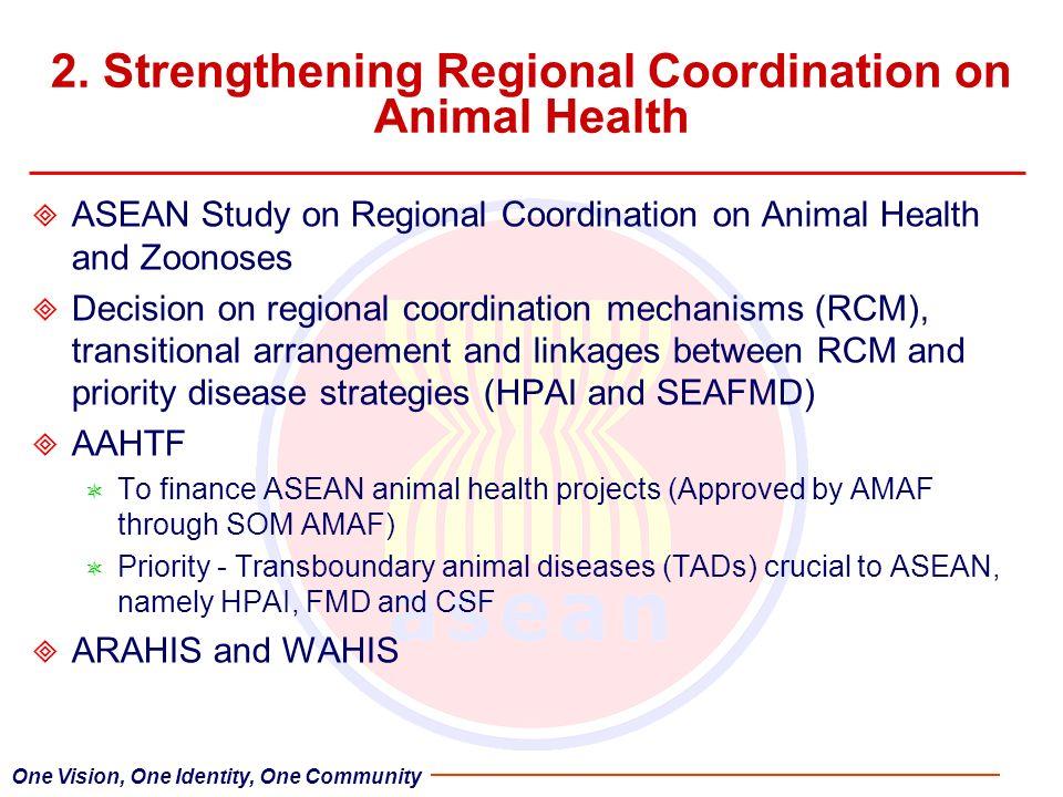 2. Strengthening Regional Coordination on Animal Health ASEAN Study on Regional Coordination on Animal Health and Zoonoses Decision on regional coordi