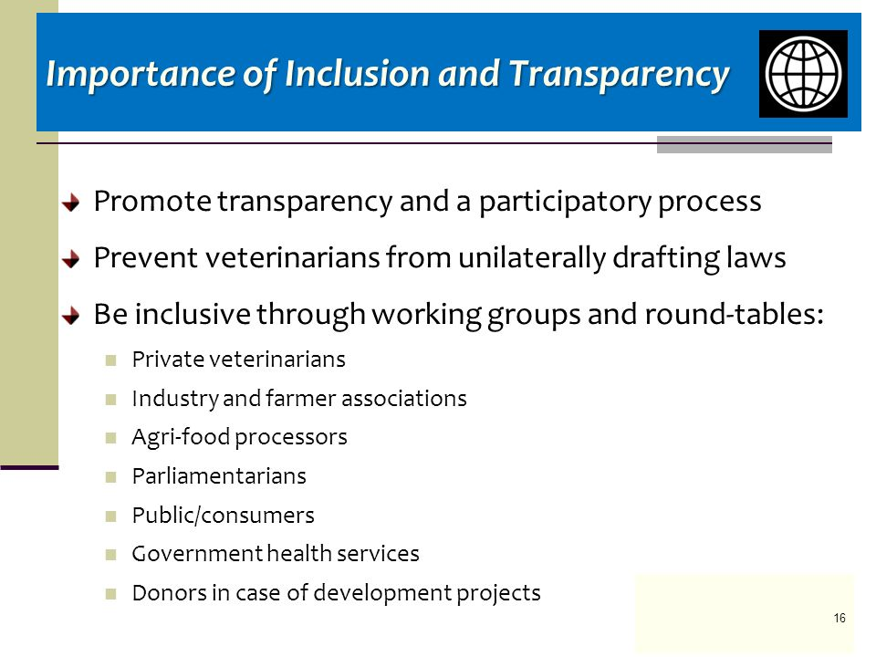 Promote transparency and a participatory process Prevent veterinarians from unilaterally drafting laws Be inclusive through working groups and round-tables: Private veterinarians Industry and farmer associations Agri-food processors Parliamentarians Public/consumers Government health services Donors in case of development projects Importance of Inclusion and Transparency 16