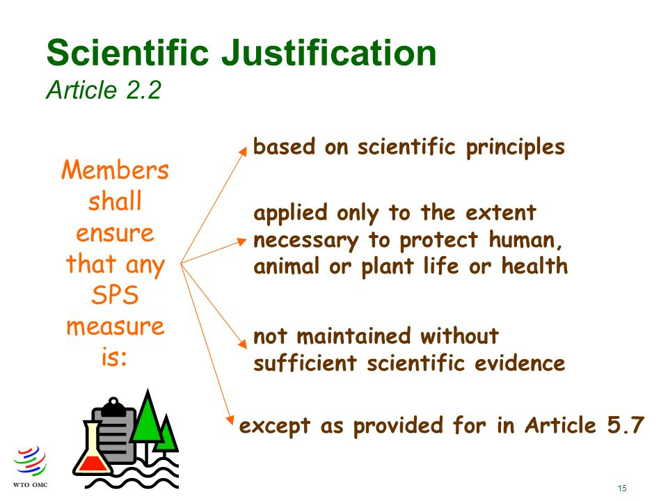 15 Members shall ensure that any SPS measure is : Scientific Justification Article 2.2 applied only to the extent necessary to protect human, animal or plant life or health based on scientific principles not maintained without sufficient scientific evidence except as provided for in Article 5.7