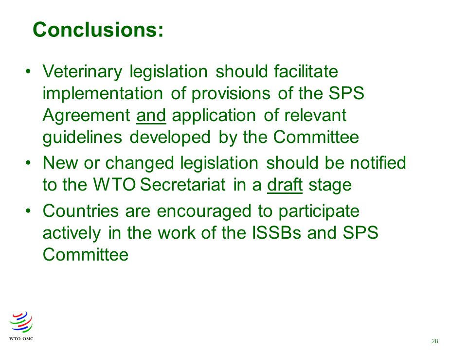 28 Conclusions: Veterinary legislation should facilitate implementation of provisions of the SPS Agreement and application of relevant guidelines developed by the Committee New or changed legislation should be notified to the WTO Secretariat in a draft stage Countries are encouraged to participate actively in the work of the ISSBs and SPS Committee