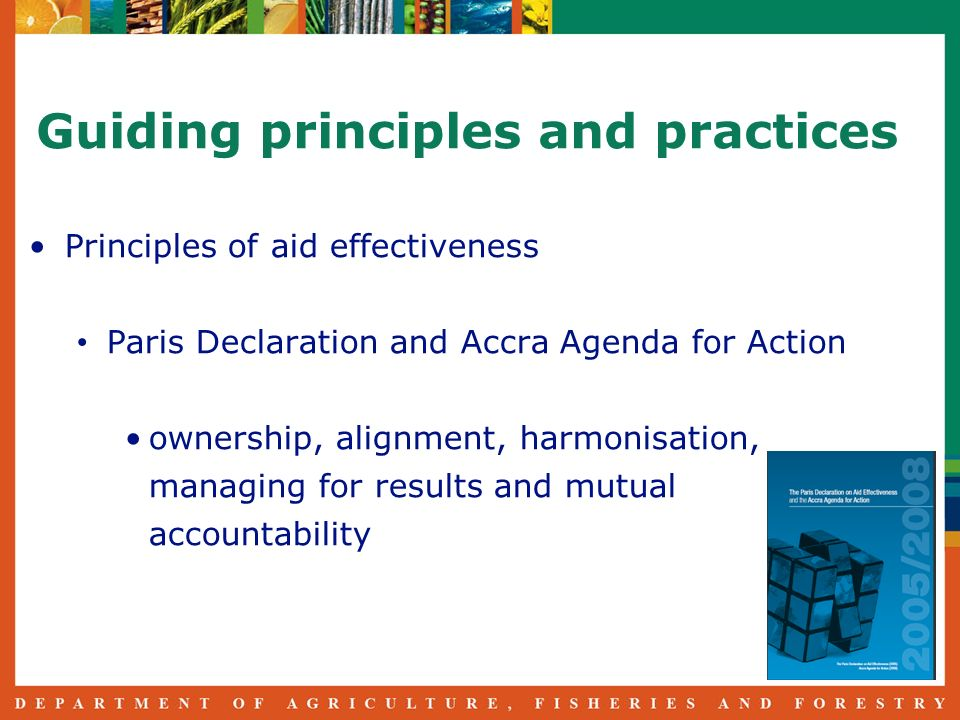 Guiding principles and practices Principles of aid effectiveness Paris Declaration and Accra Agenda for Action ownership, alignment, harmonisation, managing for results and mutual accountability