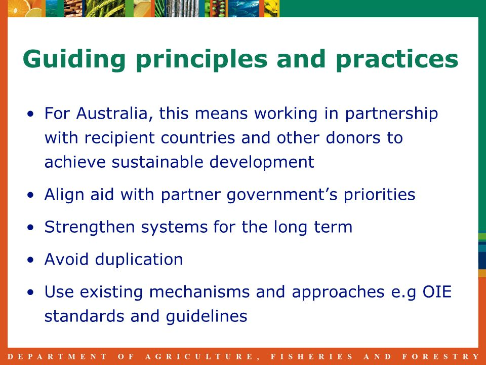 Guiding principles and practices For Australia, this means working in partnership with recipient countries and other donors to achieve sustainable development Align aid with partner governments priorities Strengthen systems for the long term Avoid duplication Use existing mechanisms and approaches e.g OIE standards and guidelines